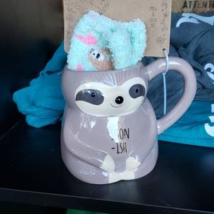 Sloth coffee mug and sock set